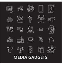 media gadgets 2 editable line icons set on vector image