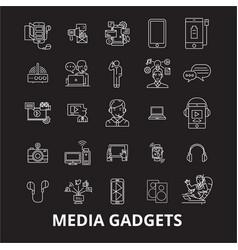 media gadgets 2 editable line icons set on vector image