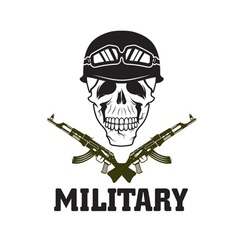 Military emblem with skull and automatic guns vector