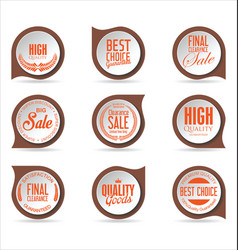 modern badges brown and orange collection vector image