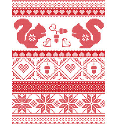 nordic christmas pattern with squirrel acorns vector image