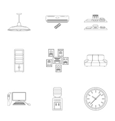 Office furniture and interior set icons in outline vector