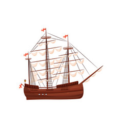 old wooden ship with sails and flags with red vector image
