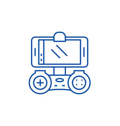playing on the smartphone line icon concept vector image