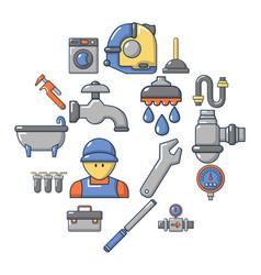 Plumber symbols icons set cartoon style vector