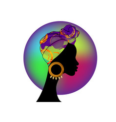 Portrait african woman traditional colorful turban vector