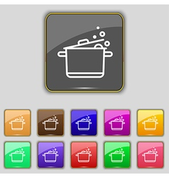 Pot Icon sign Set with eleven colored buttons for vector