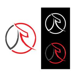 r japanese style letter logo design vector image
