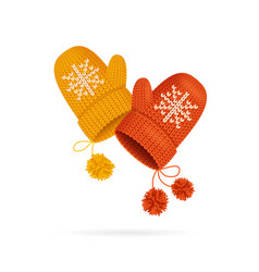Realistic detailed 3d knitted woolen mittens set vector