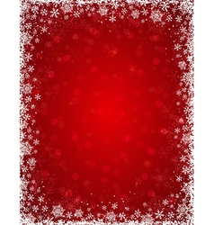 Red background with frame of snowflakes vector