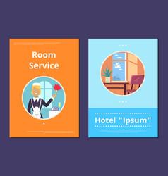 Room service in hotel informative internet page vector