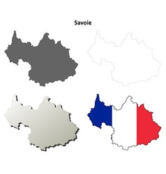 Savoie rhone-alpes outline map set vector