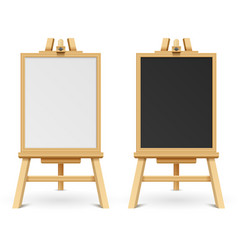 school black and white blank boards on easel vector image