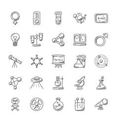 Science and fiction doodle icons vector