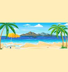 Sea beach summer landscape ocean coast panorama vector