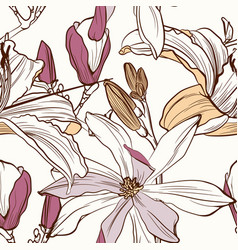 seamless floral pattern with image a magnolia vector image
