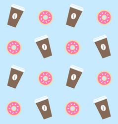 seamless pattern pastel coffee and donuts vector image