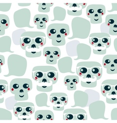 Seamless pattern with funny skulls vector image