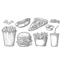 Set fast food glass of cola hamburger pizza vector