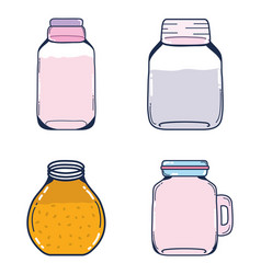 Set mason jars vector