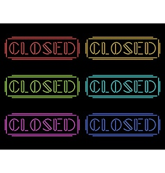 Set of colorful neon Closed signs vector image
