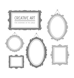 Set of gray rectangular and oval frames i vector