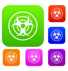 Sign of biological threat set color collection vector
