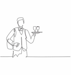 Single one line drawing young waiter man vector