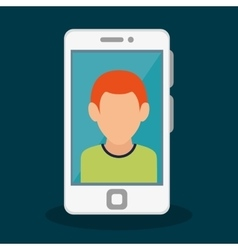 smartphone with person icon vector image