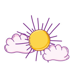 sun and clouds cartoon vector image