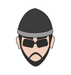 suspicious looking man criminal icon image vector image