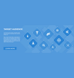 Target audience banner 10 icons conceptconsumer vector