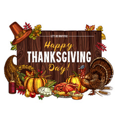 Thanksgiving turkey harvest sketch greeting vector