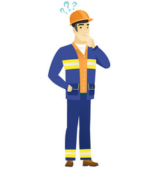 Thinking builder with question marks vector