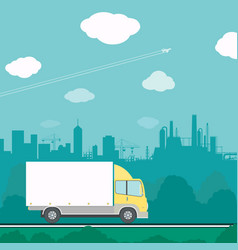 truck driving on the road vector image
