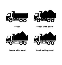 Truck with sand snow and gravel vector