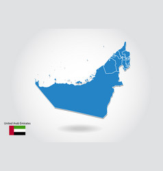 united arab emirates map design with 3d style vector image