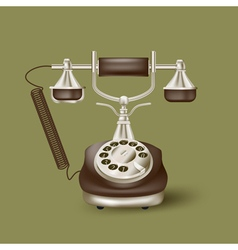 Vintage phone on green vector