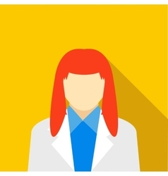 Woman with red hair icon flat style vector image