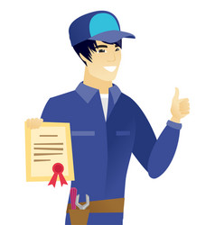 Young asian mechanic holding a certificate vector