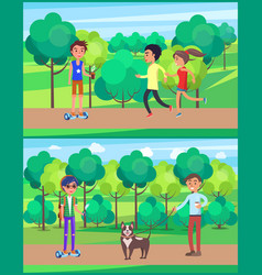 young teen people jogging in park set vector image