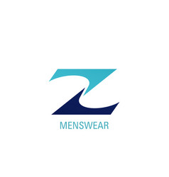 z letter icon for menswear brand shop vector image
