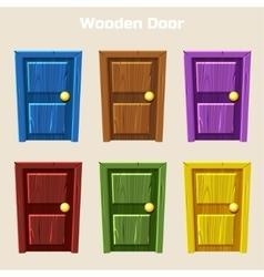 Cartoon Wooden Colorful Door vector image vector image