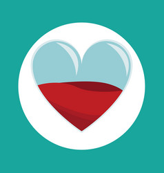 Glass heart blood donation icon vector