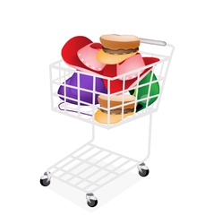 Hats and Helmet in A Shopping Cart vector image