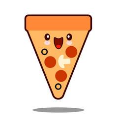 pizza cartoon character icon kawaii fast food flat vector image