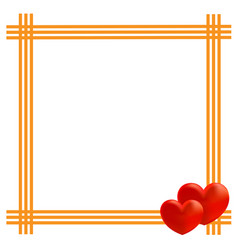 yellow frame with two hearts vector image vector image