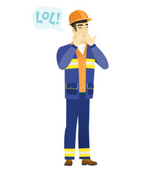 young asian builder laughing out loud vector image