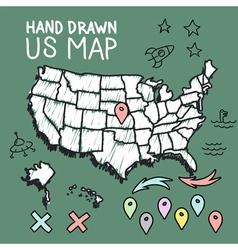Hand drawn US map on chalkboard vector image vector image