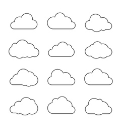 Thin lines clouds on white vector image vector image
